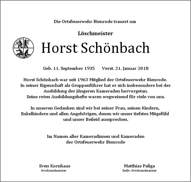 Die Ortsfeuerwehr Bienrode trauert um Horst Schönbach